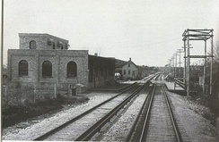 The former train station for the Chicago Aurora and Elgin Railroad at Main Street, pictured in 1902.