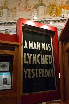 """A Man Was Lynched Yesterday"" flag, hanging at the Library of Congress"