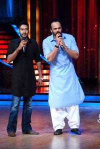 Ajay Devgn, Rohit Shetty on the sets of 'Jhalak Dikhhlaa Jaa 5'. One of the first film for which they collaborated was Golmaal: Fun Unlimited (2006).