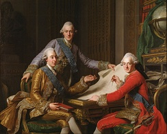 King Gustav III of Sweden and his Brothers; Gustav III (left) and his two brothers, Prince Frederick Adolf and Prince Charles, later Charles XIII of Sweden. Painting by Alexander Roslin.