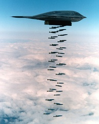 In a 1994 live fire exercise near Point Mugu, California, a B-2 drops 47 individual 500 lb (230 kg)-class Mark 82 bombs, which is more than half of a B-2's total ordnance payload.