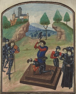 The execution of the Duke of Somerset after the battle of Tewkesbury in 1471