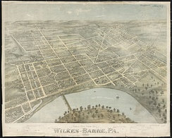 Panoramic map of Wilkes-Barre (1872)