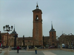The Church of Santa María la Mayor where Cervantes was baptized in Alcalá de Henares. The square in front of it is now called Plaza Cervantes.