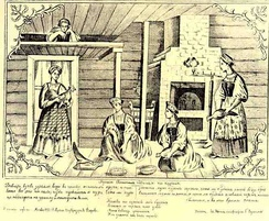 Russian peasant girls using chickens for divination; 19th century lubok.