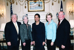 Kathleen Sebelius (second from left) with Mississippi Governor Haley Barbour (first left), United States Secretary of State Condoleezza Rice (center), Michigan Governor Jennifer Granholm (fourth), and Georgia Governor Sonny Perdue (right)