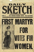 "Front page of the Daily Sketch with a photograph of Davison, and the headline ""First Martyr for Votes for Women"""