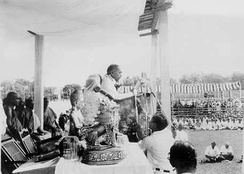 Ambedkar delivering speech during mass conversion in Nagpur, 14 October 1956.