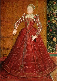 "The young Queen Elizabeth I (here in about 1563) liked to wear bright reds, before she adopted the more sober image of the ""Virgin Queen"". Her satin gown was probably dyed with kermes."
