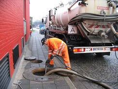 A vacuum truck used to empty septic tanks in Germany