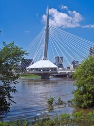 The Esplanade Riel is a landmark and pedestrian bridge in the city. It connects downtown Winnipeg with the St. Boniface neighbourhood.