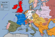 Europe at the beginning of the War of the Spanish Succession, 1700