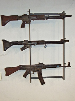 Top to bottom: late FG 42 and early FG 42 with their rear and front sights collapsed down and StG 44