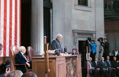 Congress convenes for a special session at Federal Hall National Memorial on September 6, 2002