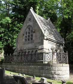 The Ford family have a columbarium-style gabled tomb.