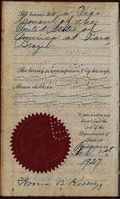 1927 hand signed passport by Frank B. Kellogg as Secretary of State