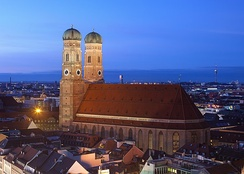The Frauenkirche in Munich is a largely Gothic, medieval church.
