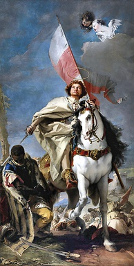 Saint James as the Moor-killer by Giovanni Battista Tiepolo (Museum of Fine Arts, Budapest). His mantle is that of his military order.