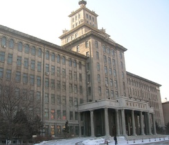 "The main building of Harbin Institute of Technology. Note the Stalinist ""tier-cake"" façade, reminiscent of the ""Seven Sisters"" in Moscow."