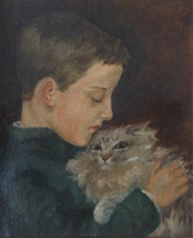 Young Stimson with Mimi, the cat, portrait by Dora Wheeler Keith.