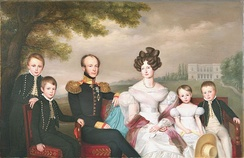 King William II and his family (1832) by Jan Baptist van der Hulst with William III on the far left