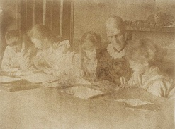 Julia Stephen at Talland House supervising Thoby, Vanessa, Virginia and Adrian doing their lessons, summer 1894