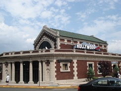 The former Lackawanna Railroad terminal, photographed when it housed a Hollywood Video store