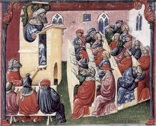 14th-century image of a university lecture