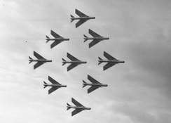 Nine Lightning F.1s of No.74 Squadron display at the 1961 SBAC show, Farnborough