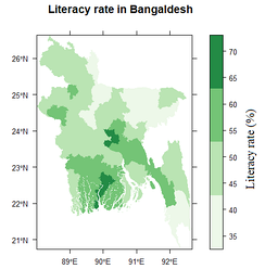 Literacy rates in Bangladesh districts