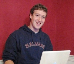 Mark Zuckerberg, co-creator of Facebook, in his Harvard dorm room, 2005