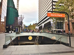 The entrance to Martin Place railway station from Elizabeth Street