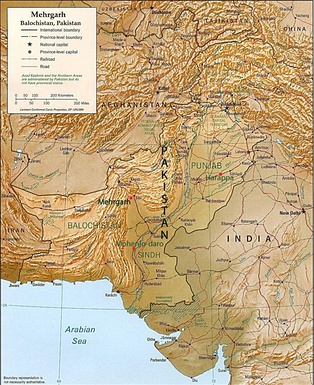 Map of Pakistan showing Mehrgarh in relation to the cities of Quetta, Kalat, and Sibi and the Kachi Plain of Balochistan.
