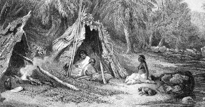 A 19th-century engraving of an Aboriginal Australian encampment, showing the indigenous lifestyle in the cooler parts of Australia at the time of European settlement.