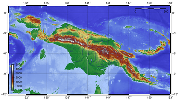 Topographical map of New Guinea
