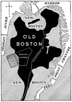 "This diagram shows the original dimension of the Shawmut Peninsula. The gray areas marked with the words ""New Boston"" are all land reclaimed during the 19th century."
