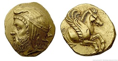 Orontes I Gold coin held at the National Library, Paris, dated to 362 BC.