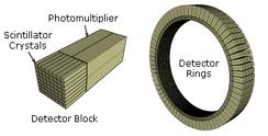 Схематический вид блока детектора и кольца ПЭТ-сканера