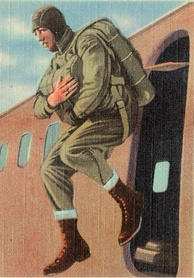 Image representing a U.S. paratrooper at Fort Belvoir, Virginia. Likely ca. 1940–1945