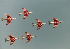 Hunters of the Patrouille Suisse in formation flight, c. 1991