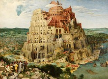 The Tower of Babel by Pieter Bruegel the Elder. Oil on board, 1563.Humans have speculated about the origins of language throughout history. The Biblical myth of the Tower of Babel is one such account; other cultures have different stories of how language arose.[36]