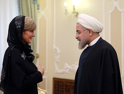Bishop with Iranian President Hassan Rouhani in Saadabad Palace