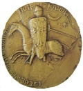Equestrian seal of Raymond VI, Count of Toulouse with a star and a crescent (13th century)