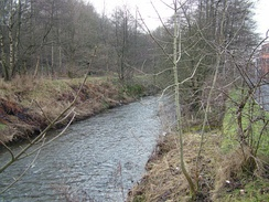 The River Brun as it flows through Burnley