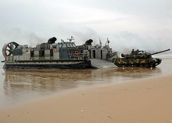 South Korean Type 88 K1 MBT comes ashore from an American LCAC in March 2007.