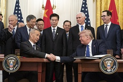 President Donald Trump and Vice Premier Liu He sign the Phase One Trade Deal in January 2020