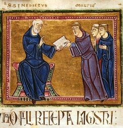 Saint Benedict delivering his rule to the monks of his order, Monastery of St. Gilles, Nimes, France, 1129
