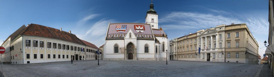 St. Mark's Square in Zagreb –  Left-to-right: Banski dvori official residence of the Croatian Government, St. Mark's Church and Croatian Parliament