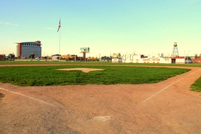 Tiger Stadium's site is now occupied by a baseball diamond, seen here in October 2011.