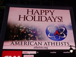 Atheism promoted on an electronic billboard in Times Square.